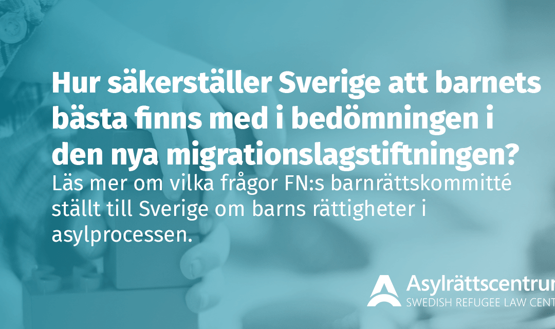 FN ställer frågor till Sverige om barns rättigheter